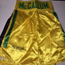 MIKE THE BODY SNATCHER McCALLUM AUTOGRAPHED BOXING TRUNKS FIGHT PLAZA COA