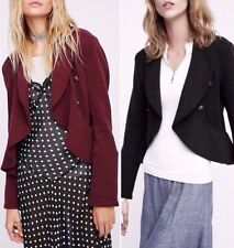 Free People Flared Femme Open Jacket Ruffle Military Knit Black Or Wine Burgundy