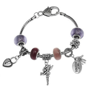 RUBYCA Women Tibetan Silver Bracelet Themed European Charm Beads Gift Box 20cm