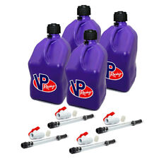 4 Pack VP Racing Purple 5 Gallon Square Fuel Jug/ 4 Shut Off Hoses/Water/Gas Can