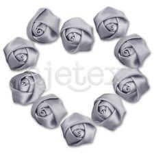 10pcs Satin Ribbon Flower Rosebuds Wedding Appliques Decoratoin DIY Deep Gray IF
