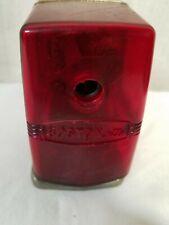 Vintage Red Plastic Bostonette Wall / Desk Manual Pencil Sharpener Hunt Mfg NC