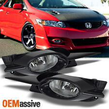 Fits 09-11 Civic 2Dr Coupe JDM Clear Bumper Driving Fog Lights w/Bulbs + Switch