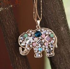New Fashion Charm Multicolour Crystal Lucky Elephant Sweater Necklace Pendant