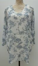 Phase Eight Ladies Size 8 White Grey Floral Tunic Top Slouch Summer Fashion