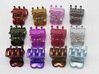12/24pcs Mixed Color Plastic Cute Heart Mini Hair Claw Clip 15mm Hairpins Kids