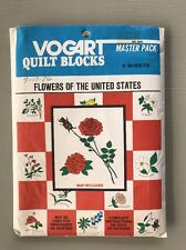 UNCUT Vintage Vogart Transfer Embroidery Pattern 2002 Quilt Blocks Flowers of US