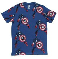 Marvel Captain America & Shield Graphic All Over Tagless Blue Men's T-Shirt Tee