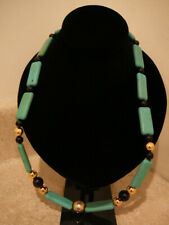 VINTAGE GREEN HOWLITE TURQUOISE GEMSTONE NECKLACE LOBSTER CLASP CLOSURE