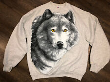 Vintage Tee Jays Mens Xl Usa All Over Wolf Face Sweatshirt 50/50