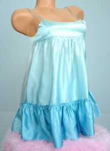 Lacey Parker 100% Silk Blue Ruffled Babydoll Shiny Satin Sissy Camisole Top XS S