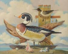 PAUL RIBA Alert Duck Decoy Still Life Oil Painting Lot 495