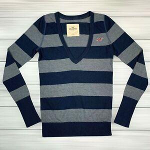 Hollister Women's V-Neck Sweater Size L Gray Navy Blue Striped Long Sleeve