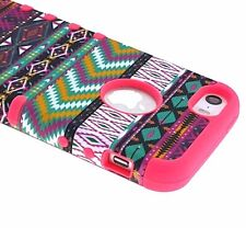 For iPHONE 5 5S SE - HARD&SOFT RUBBER SLIM FIT SKIN CASE CORAL PINK AZTEC TRIBAL