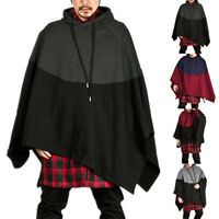Mens Autumn/Winter Hooded Hoodie Cape Cloak Poncho Coat Smock Pullover Sweater