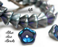 Bfb-Premium Czech Pressed Glass 6/8mm Bell Flower Beads*Seal Gray-Electric Blue*