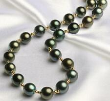 """Huge 18"""" 10-11mm natural south sea genuine perfect round black pearl necklace"""