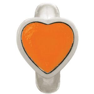 New Endless Jewelry 41200-4 Orange Enamel Heart Charm Sterling Silver