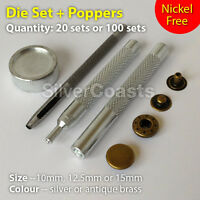Poppers + Tool set Punch die, Snap fastener Press stud, Sewing Leather Craft