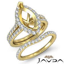 Marquise Diamond Semi Mount Engagement Ring Bridal Set 18k Gold Yellow 1.90 ct.