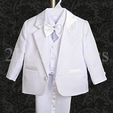 5pc Set Formal Suits Outfits Christening Wedding Page Boys White 3m-6m St022a