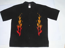 50s STYLE BLACK RETRO CAMP SHIRT WITH FLAMES! DJ SHIRT! POLY! SS! MADE IN USA! L