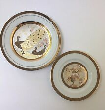Toyo Art of Chokin Collector Plate Silver Gold Peacock Pheasant Bird Set of 2