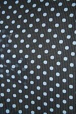 SEWING YARDAGE FABRIC POLY CHIFFON BLACK SKY BLUE DOTS & SM WHITE DOTS 1YD X 62""