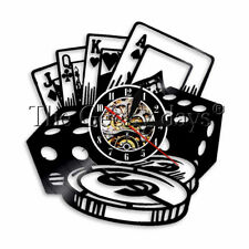 Poker Star Wall Clock Las Vegas Jack Vinyl Record Wall Clock Casino Bar Decor