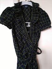 RALPH LAUREN Check Ruffle Neckline Short Sleeve Wrap Round Cotton Dress Size 8