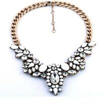 Wedding Flower Crystal Clear Drop Choker Crew Bib Statement Collar Necklace P11