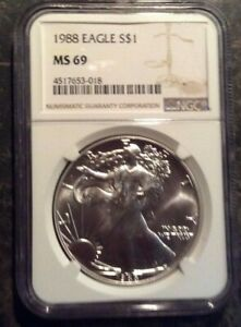1988 American Silver Eagle MS69 NGC