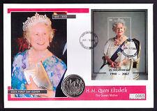 2002 REGINA MADRE COVER Nevis Mini Foglio & ISOLE VERGINI BRITANNICHE MONETA DELLE ISOLE VERGINI BRITANNICHE Royal