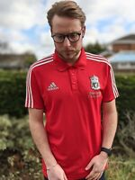 Adidas UK L Liverpool FC Polo Shirt Men's Red & Silver Climalite Football