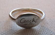Authentic COACH Ring Oval Plaque Logo Sterling Stack or Alone Size 8.5