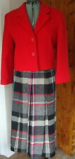 Vintage Intuitions 8 Red Boiled Wool Blazer Matching Plaid Pleated Skirt