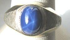 14K Gold Lindy Star Sapphire Vintage ring satin finish sides White 8.7 gr Size 7