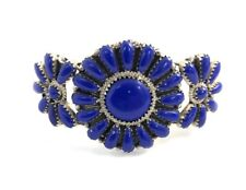 Native American Sterling Silver Navajo Handmade Lapis Cluster Cuff Bracelet