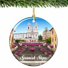 Spanish Steps Christmas Ornament Porcelain Double Sided Italy Rome Ornament