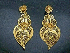 Portuguese solid gold (19k) filigree 'Heart of Viana' traditional earrings pair