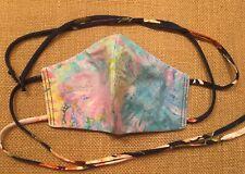 Handmade FACE MASK Tie Back REVERSIBLE Three Layer Cotton Batik W Blue OOAK