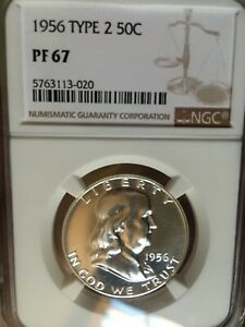 1956 Type 2 Franklin Half Dollars 90% Silver Coin NGC PF67 Bright Uncirculated.