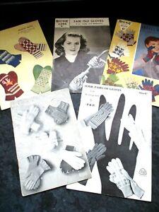 5 ORIGINAL VINTAGE 1950s BESTWAY+ P&B KNITTING PATTERNS LADIES GLOVES & MITTENS