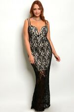 Women's Plus Size Black Lace Overlay Bodycon Gown Dress 1X NWT