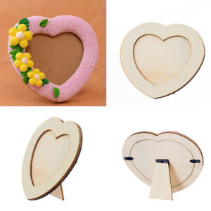 Wooden LOVE HEART Blank Photo Holder Picture Frame For Kids Craft Home Decor