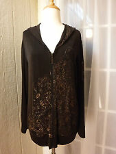 """Chico's Travelers Gold Shiny Paisley on Brown Hoodie FullZip Jacket """"W/Chico's1"""""""