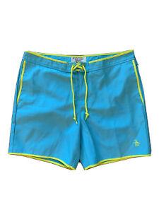 "Original Penguin Teal Blue Yellow Swim Trunk Volley Board Shorts Sz 33 6"" Inseam"