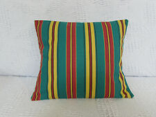 Cushion Cover, Vintage, Laura Ashley, Stripes, Green, Red, Yellow, Cotton, Fun.