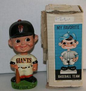 RARE 1960's San Francisco Giants Green Base Vintage Bobble Head Nodder With Box