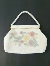 Vintage Handmade White and Floral Beaded Purse Handbag Made In Hong Kong